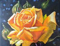 """Yello Rose"" Original oil painting Impressionism hyper realism still life 20x24"""