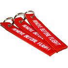 Red Linen Remove Before Flight Key Chain Luggage Tag Woven Embroidery Keychain