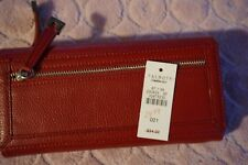TALBOTS NWT $34 HOLIDAY RED PEBBLE LEATHER/PAISLEY LINING MULTIFUNCTIONAL WALLET