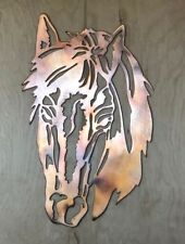 Horse Head Copper Patina Finish Metal Wall Art Hanging