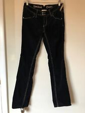 TWISTED HEART BLACK CORDUROY BOOT CUT JEAN WITH CRYSTALS AND LEATHER TRIM 27X28