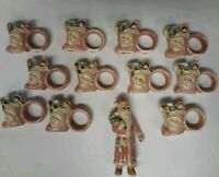 Set 11 Vintage Christmas Santa Claus Ceramic Napkin Rings plus Centerpiece Santa