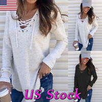 USA Sexy Womens V-Neck T-shirt Casual Sweater Lace-up Long Sleeve Tops Pullover