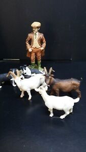 dolls house accessories resin farmer/sheep dogs and goats 1.12th