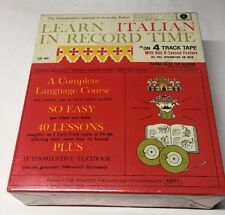 Learn Italian In Record Time Institute of Language Study  2 Four-Track Tapes New