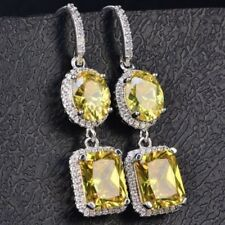 Gorgeous Yellow Citrine Diamond Halo Dangle Earrings 14K White Gold Plated Gift