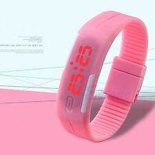 Fashion Mens Women Rubber Red LED Watch Date Sports Bracelet Digital Wrist Watch
