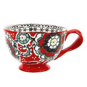 Anthropologie AYAKA RED 12oz Mug Cup Floral Teal Grey Yellow Embossed White Dots