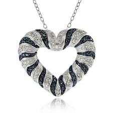 0.50ct TDW Black & White Diamond Wave Heart Necklace