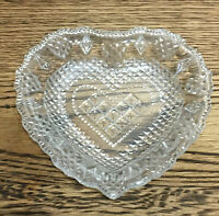Vintage Glass Heart Trinket /Ring Dish. Patterned. 13 Cm. Valentines Gift