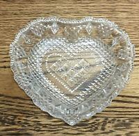 Vintage Glass Heart Trinket /Ring Dish. Patterned. 13 Cm. Valentines Gift