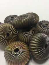 Raw Brass 15mm 10 Pieces Corrugated Beads
