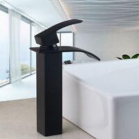Bathroom Oil Rubbed Bronze Basin Faucet Deck Sink Mixer Vanity Waterfall Tap s8