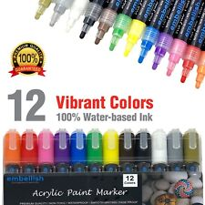 Acrylic Paint Pens Set of 12 Markers for Fabric, Glass, Wood, Ceramic & Rocks