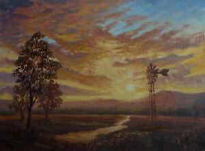 Original landscape oil painting sunset Narrabri road by Chris Vidal