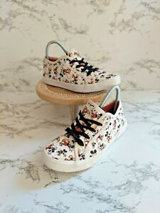 Disney Womens Canvas Mickey Mouse Round Toe White Athletic Sneaker Shoes Size 7