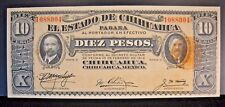 1914 Mexico, State of Chihuahua 10 Pesos Bank Note Nice  ** FREE U.S SHIPPING **