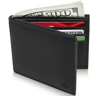 New Genuine Leather Bifold Mens Wallet With Flip-Up ID Window RFID Blocking