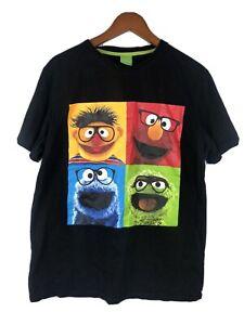 Sesame Street Black Tshirt Shirt Size Large Elmo, Cookie Monster, Oscar, Ernie