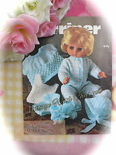 """Vintage 12-18"""" Doll Clothes Knitting Pattern. 6 Piece Layette For A Baby Doll!!"""