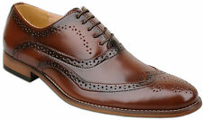 Da Uomo Marroni Stringati In Pelle Foderato formale Brogues Fashion Scarpe UK taglia 8