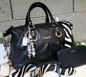 Coach 3pc ashley 15445 leather satchel shoulder bag purse + wallet/novelty strap