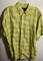 BROOKS BROTHERS MEN'S SHORT SLEEVE PLAID BUTTON FRONT SHIRT SIZE LARGE