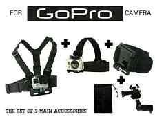 Set of 3 pcs Chest Strap + Head Strap + Wrist Mount for GoPro Hero HD 1 2 3+ 4