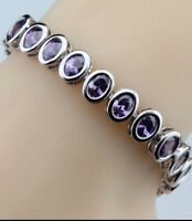 Purple Amethyst  Oval Surround 925  Sterling Silver Tennis  Gemstone Bracelet