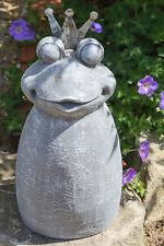 Garten Skulptur 'Froschkönig' grau Krone aus Metall Figur Höhe 45cm Deko NEU