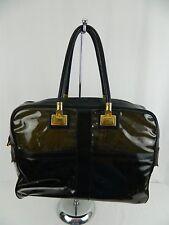 Burberry Vintage Black Leather Translucent PVC Large Travel Tote Bag Purse