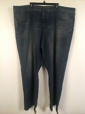 Mark Ecko Blue Jeans 52 X 34 Relaxed Cut And Sew Scissor Emblem 100% Cotton