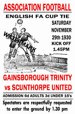 GAINSBOROUGH TRINITY - VINTAGE 1930's STYLE MATCH POSTER