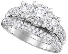 Prong Setting Round Cut 2.50 CT Diamond Bridal Set Ring 18k Gold GIA Certified