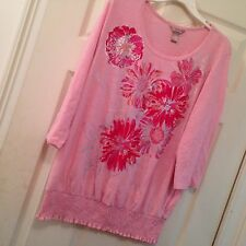 White Stag 2X Top Blouse shirt Floral Metallic Blouson  Pink Silver Career    2E