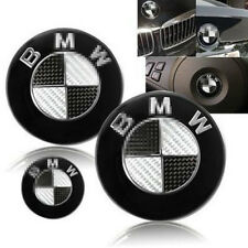 3Pcs For BMW Black/Silver Carbon Fiber Front Rear Hood Trunk Emblem Badge