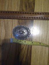 Vintage Hand Tooled Leather Belt Sterling Silver Buckle Set Southwest Signed