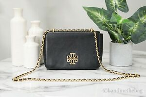 Tory Burch 60404 Britten Pebble Leather Black Adjustable Chain Shoulder Handbag