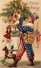 Vintage Patriotic Santa Claus Quilting Fabric Block 5x7