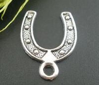 30 Antiksilber Hufeisen Anhänger Perlen Beads 24x18mm