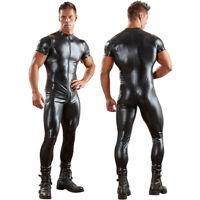 Men's Wetlook Leather Zipper Bodysuit Jumpsuit Singlet Lingerie Latex Underwear