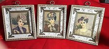 Young Ladies in Hats Colette Prints Trio Vintage Donald Art Co Orig Metal Frame