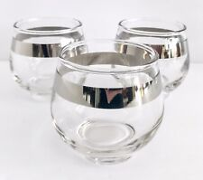 Vtg Dorothy Thorpe Roly Poly Cocktail Glass Replacement 1 Glass Silver Band MCM