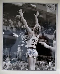 Larry Bird Autographed 16 x 20 with Michael Jordan PSA/DNA COA B9142
