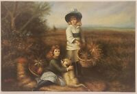 "Oil Painting on Canvas Women with Puppy Signed Unframed Art  (24"" x 36"")"