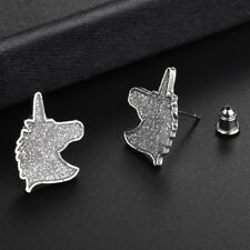 Fashion Girls Women Silver Color Stud Earrings Glitter Unicorn Jewelry Z