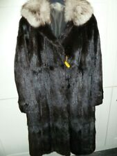 """Ladies Lovely real fur with blue fox collar coat bust 40"""" size UK 12 length 43"""""""