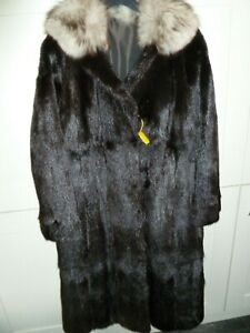"Ladies real Murmel fur with blue fox collar coat bust 40"" size UK 12 length 43"""