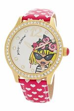 NIB Betsey Johnson Ladies Watch-Gold Crystal Bling Emoji Betsey Icon BJ00131-71