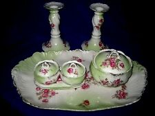 Limoges Porcelain 7 Pieces Dressing Table Set Floral